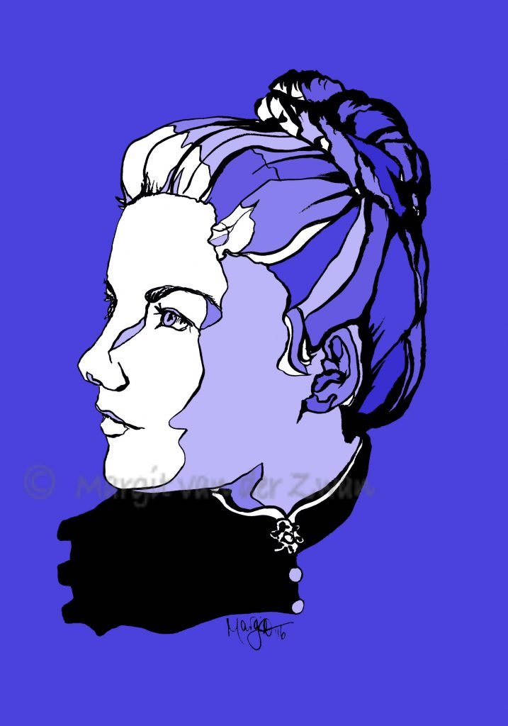 Amy Beach drawing art portrait composer music musician orchestra symphony licensing licence license licensing illustration artwork unique illustrator modern ink colour face Margit van der Zwan Dutch art kunst kunstenaar Nederlands Manchester Classical baroque pop hip hop trans house