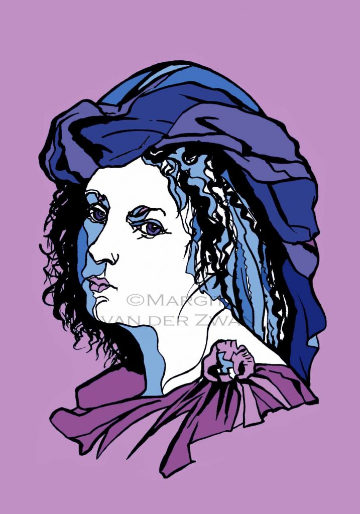 Barbara Strozzi drawing art portrait composer music musician orchestra symphony licensing licence license licensing illustration artwork unique illustrator modern ink colour face Margit van der Zwan Dutch art kunst kunstenaar Nederlands Manchester Classical baroque pop hip hop trans house