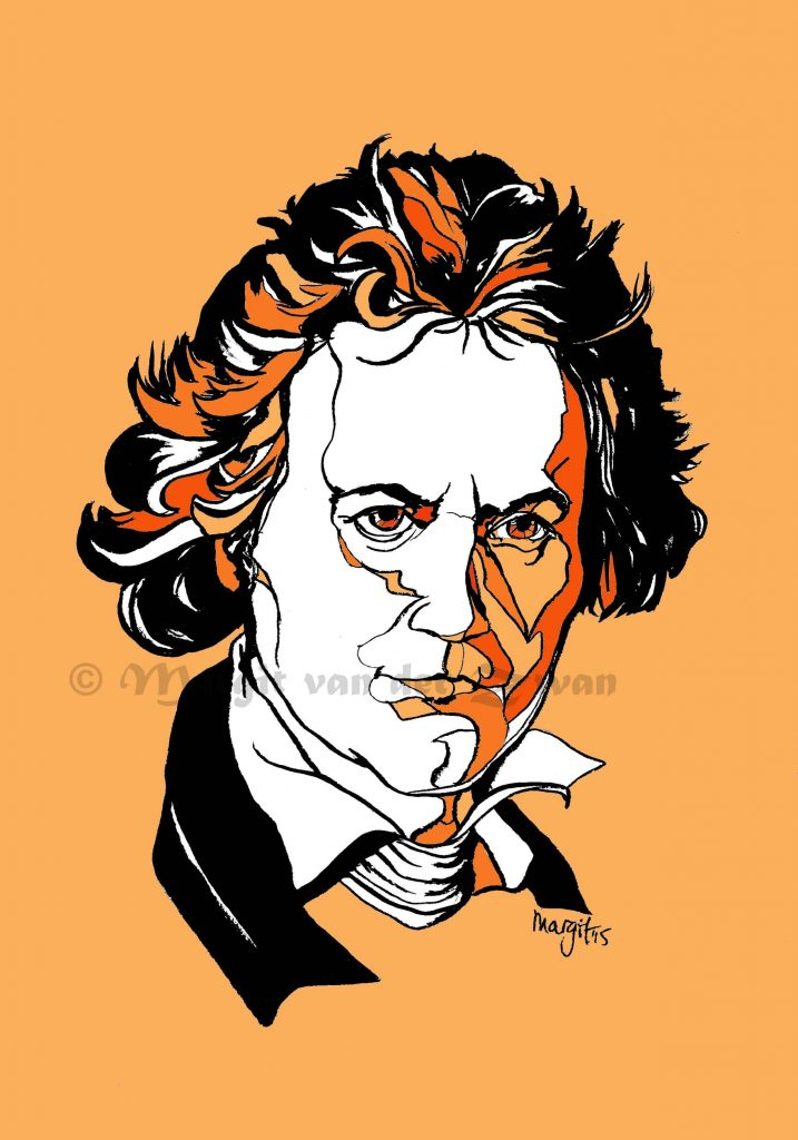 Beethoven drawing art portrait composer music musician orchestra symphony licensing licence license licensing illustration artwork unique illustrator modern ink colour face Margit van der Zwan Dutch art kunst kunstenaar Nederlands Manchester Classical baroque pop hip hop trans house