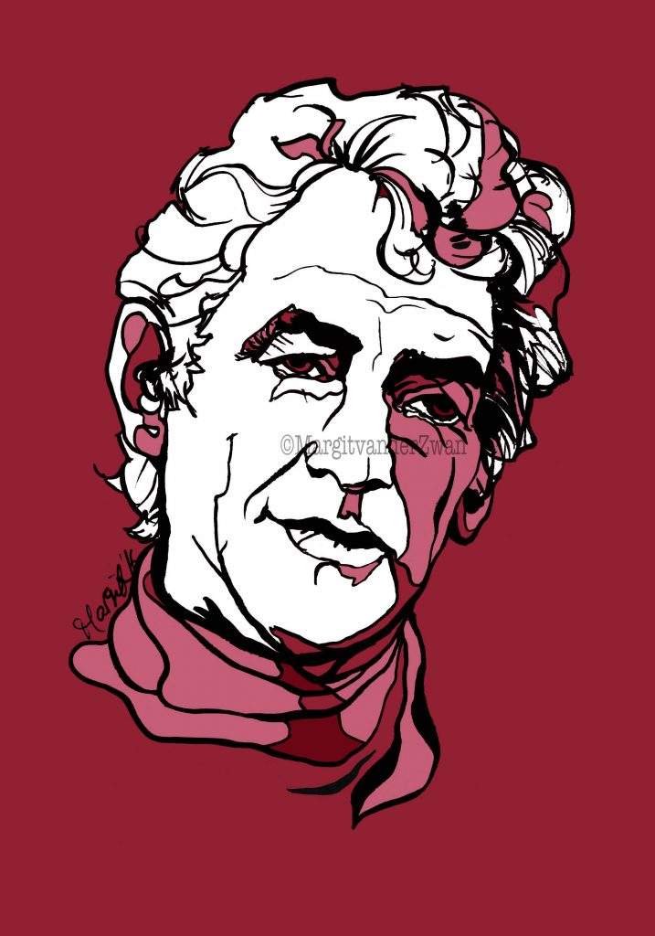 Leonard Bernstein drawing art portrait composer music musician orchestra symphony licensing licence license licensing illustration artwork unique illustrator modern ink colour face Margit van der Zwan Dutch art kunst kunstenaar Nederlands Manchester Classical baroque pop hip hop trans house