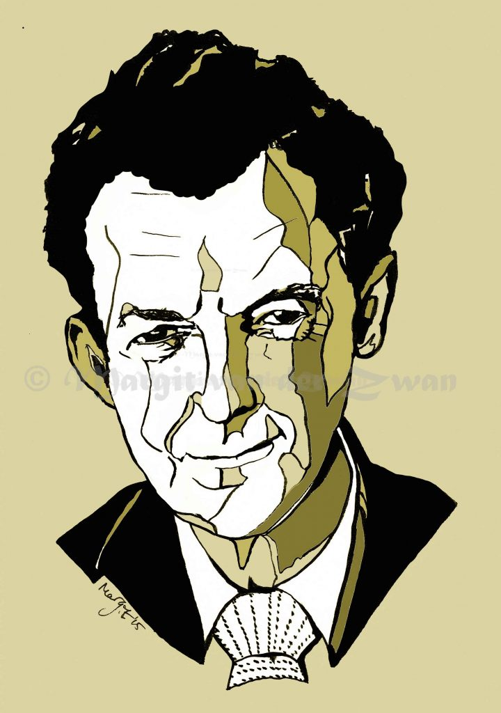 Benjamin Britten Aldeburgh Southward festival drawing art portrait composer music musician orchestra symphony licensing licence license licensing illustration artwork unique illustrator modern ink colour face Margit van der Zwan Dutch art kunst kunstenaar Nederlands Manchester Classical baroque pop hip hop trans house