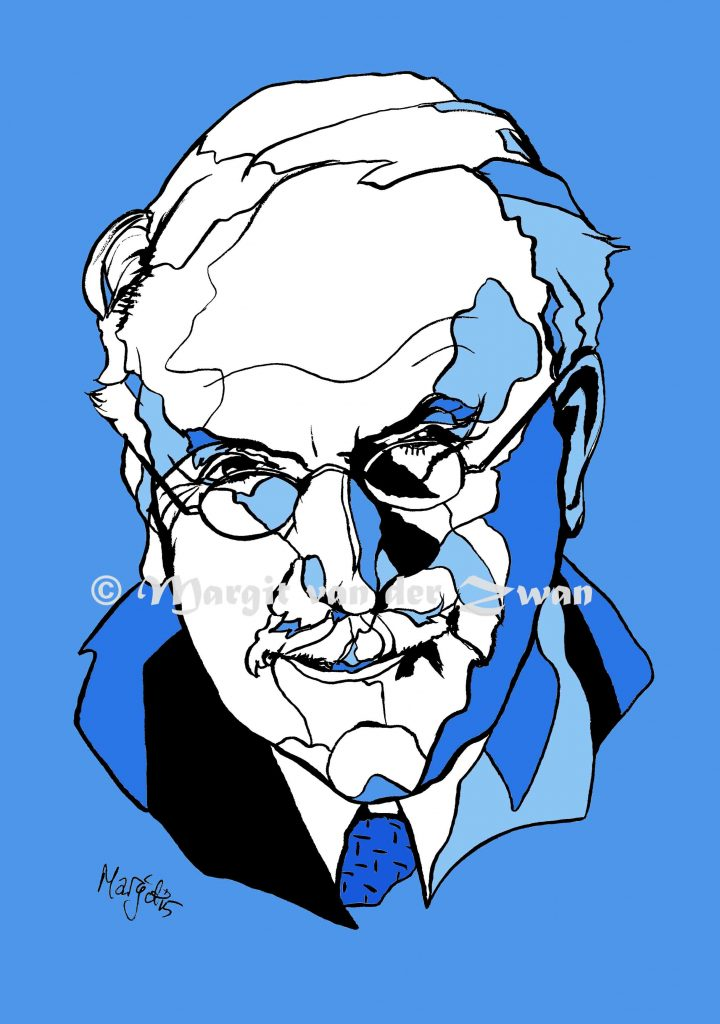 Carl Jung drawing art portrait composer music musician orchestra symphony licensing licence license licensing illustration artwork unique illustrator modern ink colour face Margit van der Zwan Dutch art kunst kunstenaar Nederlands Manchester Classical baroque pop hip hop trans house Philosophy therapy therapist psychoanalysis psycho