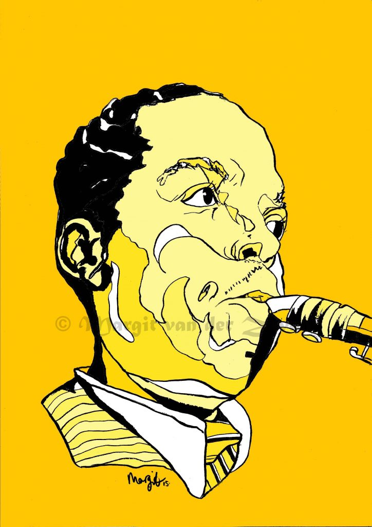 Charlie Parker Jazz trumpet sax saxophone drawing art portrait composer music musician orchestra symphony licensing licence license licensing illustration artwork unique illustrator modern ink colour face Margit van der Zwan Dutch art kunst kunstenaar Nederlands Manchester Classical baroque pop hip hop trans house