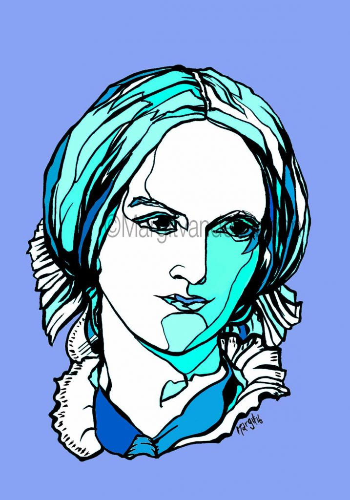 Charlotte Bronte literature books drawing art portrait composer music musician orchestra symphony licensing licence license licensing illustration artwork unique illustrator modern ink colour face Margit van der Zwan Dutch art kunst kunstenaar Nederlands Manchester Classical baroque pop hip hop trans house