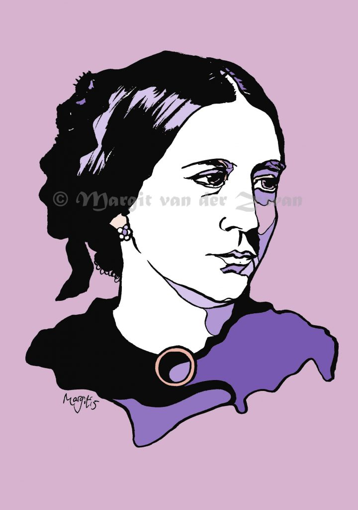 Clara Schumann drawing art portrait composer music musician orchestra symphony licensing licence license licensing illustration artwork unique illustrator modern ink colour face Margit van der Zwan Dutch art kunst kunstenaar Nederlands Manchester Classical baroque pop hip hop trans house