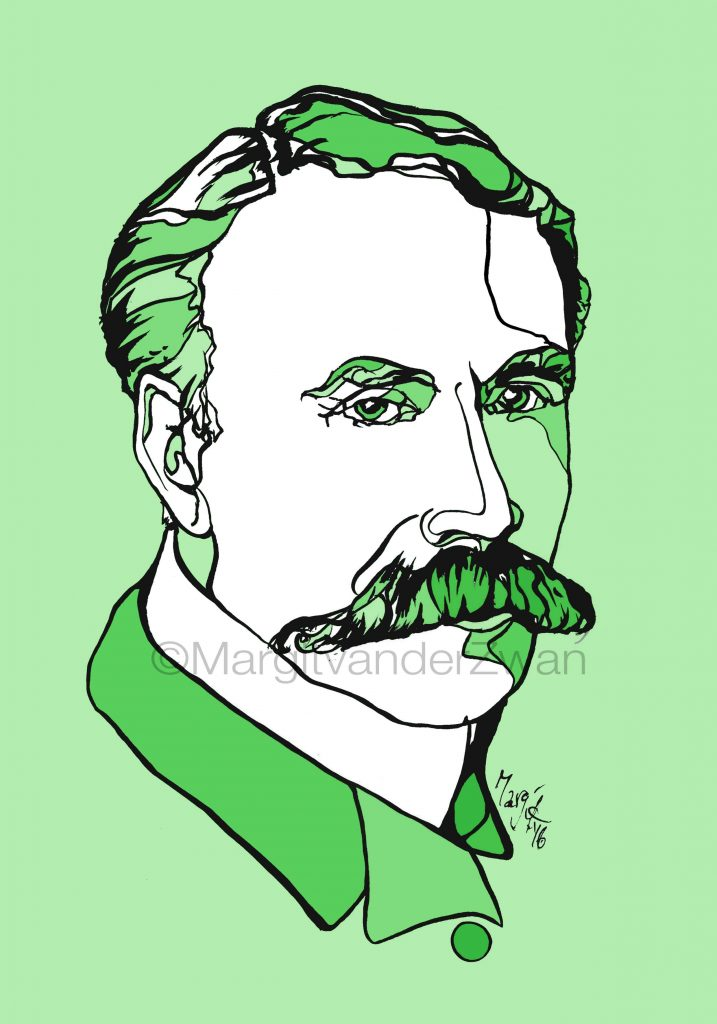 Elgar drawing art portrait composer music musician orchestra symphony licensing licence license licensing illustration artwork unique illustrator modern ink colour face Margit van der Zwan Dutch art kunst kunstenaar Nederlands Manchester Classical baroque pop hip hop trans houseElisabeth LutyensElisabeth Lutyens