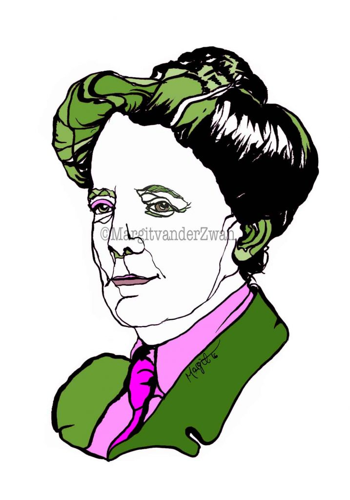 drawing Ethel Smyth art portrait composer music musician orchestra symphony licensing licence license licensing illustration artwork unique illustrator modern ink colour face Margit van der Zwan Dutch art kunst kunstenaar Nederlands Manchester Classical baroque pop hip hop trans house