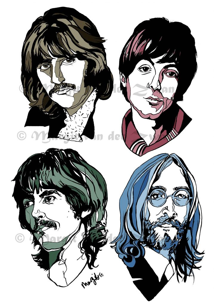 Fab 4 Beatles drawing art portrait composer music musician orchestra symphony licensing licence license licensing illustration artwork unique illustrator modern ink colour face Margit van der Zwan Dutch art kunst kunstenaar Nederlands Manchester Classical baroque pop hip hop trans house