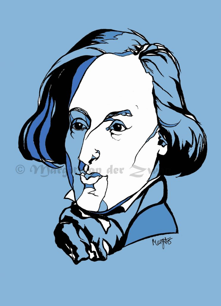 Chopin Polish drawing art portrait composer music musician orchestra symphony licensing licence license licensing illustration artwork unique illustrator modern ink colour face Margit van der Zwan Dutch art kunst kunstenaar Nederlands Manchester Classical baroque pop hip hop trans house